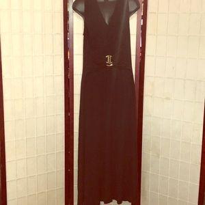 LIZ LANGE LONG BELTED BLACK STATEMENT MAXI DRESS L